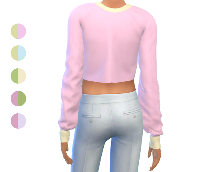 Sweater Crop Top - Long Sleeves - Two Tone Pastel