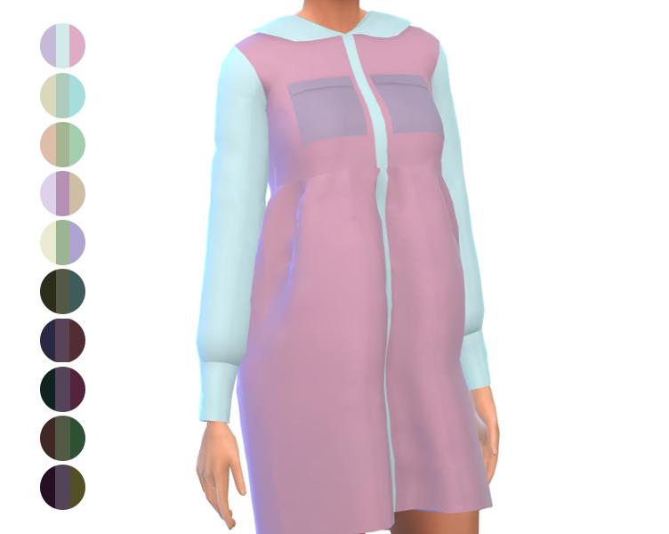 Short Dress - Long Sleeve - Color Block