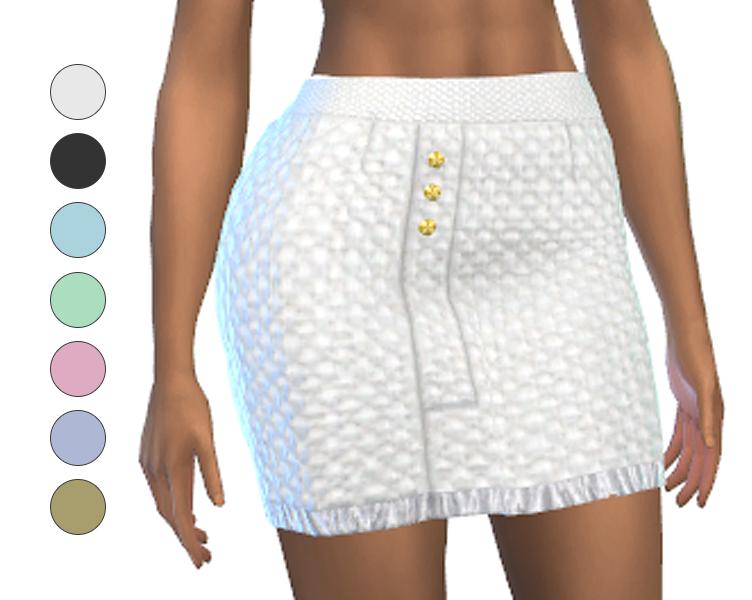 Skirt - Short - Tweed with fringe at bottom